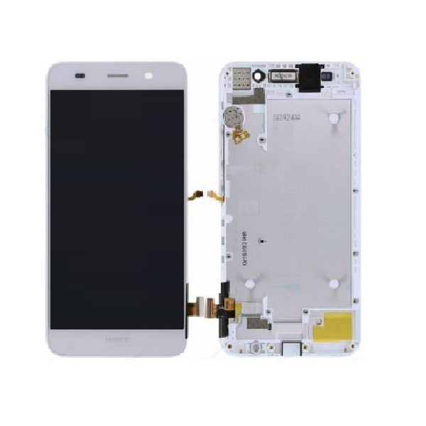 Huawei Y6 LCD Screen and Digitizer Assembly with Frame - White - Original 02350LTV