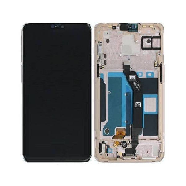 OnePlus 6 LCD Screen and Digitizer Assembly with Frame - White