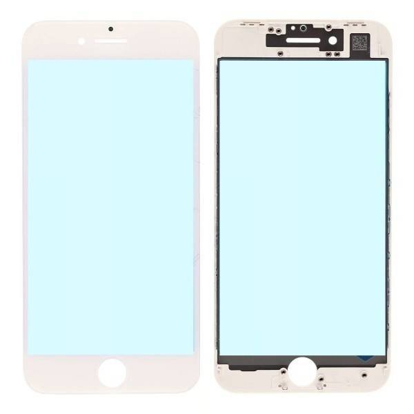 iPhone 8 Plus Front Glass Lens with Supporting Frame - White