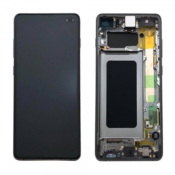 Samsung S10 Plus LCD Screen Digitizer Assembly with Frame GH82-18849B - Black - Original